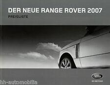 Preisliste Range Rover 2007 8 06 Autopreisliste Preise Auto PKWs price list car