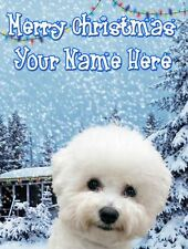 Bichon Frise Christmas Snow Card PIDOA35  Greeting a5 Personalised Mum Dad son