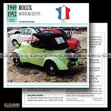 #091.17 ROLUX MOTOCAR 125/175 (Minicar Voiturette) 1949-1952 Fiche Auto Car card