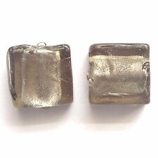 10 SILVER FOIL 12MM SQUARE GLASS BEADS - Black - G019