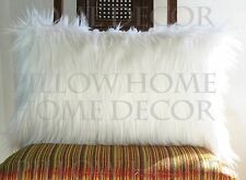 Fur pillow cover 20X36 King size white fur white linen pillow cover decorative