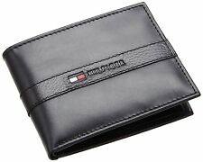 Tommy Hilfiger Mens Black Leather Ranger Passcase Wallet in Gift Box