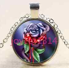 Snake and Rose flower Cabochon silver Glass Chain Pendant Necklace #XP-2600