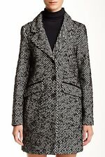 SOIA & KYO Medium Black Stripe Wool Blend Lapel collar Jacket Coat $375 NWT