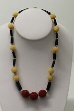 Vintage Asian Necklace with Cinnabar & Carved Balls 17""
