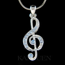 w Swarovski Crystal ~Blue TREBLE g CLEF~ Musical music NOTE Chain Necklace Cute