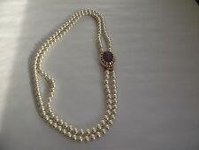 VINTAGE 2 ROW WHITE LUSTER FAUX PEARL SIDE CLASP NECKLACE C1970'S HUGE CLASP!