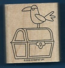 PIRATE TREASURE CHEST Parrot Bird Stampin' Up! Wood Mount Hobby RUBBER STAMP