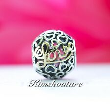 Authentic PANDORA Two Tone Message of Love Charm 791425