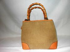 Stubbs & Wootton Women's Handbag Tan & Leather Trim Bamboo Handles