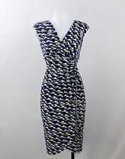 Maggy London Navy Blue & White Sleeveless Wrap Dress Shoulder Pad Elastic Size 2