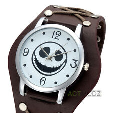 Retro Mens Womens Cool Punk Wrist Watch Wide Brown Leather Band Bracelet Watch