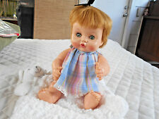 "Vintage 1969 Effanbee 12"" Rubber Doll With Clothes Blue Sleepy Eyes"
