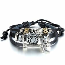 Fish Skeletone Triple Leather Wrap Bracelet Tribal Mens Womens Unisex Black