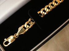 GENTS 9CT YELLOW GOLD CURB BRACELET MADE IN ITALY BRAND NEW IN BOX QUALI