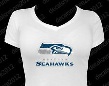 NFL - Seattle Seahawks Bling - Iron-on Glitter Vinyl & Rhinestone Transfer