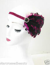 Hot Pink Black Feather Headpiece 1920s Charleston Flapper Headband Vintage O83