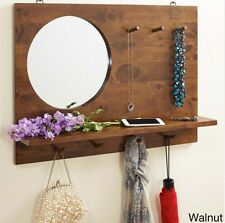 Wall Mirror with Shelf and Hooks Entryway Coat Rack Organizer Rubberwood New