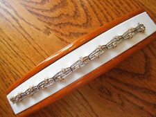 HEAVY 2 TONE 14K GOLD 4 CARATS BAGUETTE/ROUND DIAMONDS BRACELET STEAL & COMPARE