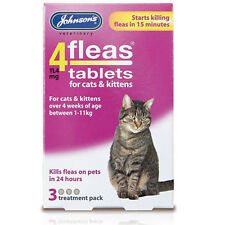 JOHNSONS 4 FLEAS TABLETS FOR CATS & KITTENS - 3 TREATMENTS - NEW