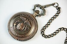 US Marine Corps Embossed Emblem Pocket Watch Copper, Free Gift Box PWUS023