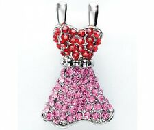 NEW crystal platinum plated red pink dress brooch bauble pin jewellery xmas gift