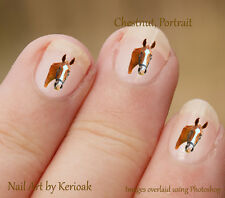 Horse, Chestnut Portrait,  Set of  24 Nail Art Stickers Decals