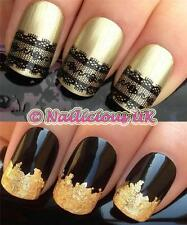 NAIL ART SET #82 BLACK BURLESQUE LACE WATER TRANSFERS/DECAL/STICKERS & GOLD LEAF
