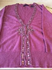 Context Cranberry Heathered Cardigan with lovely Beading,NWT