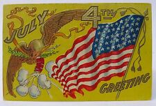 1908 EAGLE FLAG and FIREWORKS Greetings 4th of July embossed postcard