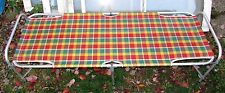 Vtg Camping GLAMPING Portable Plaid Mesh Folding Cot Chaise Lounge Lawn Sleeping