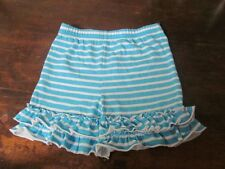 NEW Kellys Kids Aqua blue white striped big double ruffled shorts 4 5 4T 5T NWOT