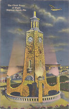 The Clock Tower At Night Daytona Beach Florida Stamped 1944   # D2