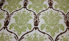 BALLARD DESIGNS OPHELIA GREEN DAMASK NUBBY UPHOLSTERY FABRIC BY THE YARD