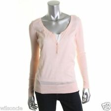 FAMOUS CATALOG NEW Pink Ribbed Knit Scoop Neck Henley Sweater Top XL