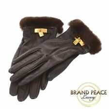 Hermes leather glove knitted mink fur with Cadenas brown gold hardware