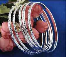 5PCS Wholesale  925sterling solid Silver Carving Women's Bracelet Bangle Gift