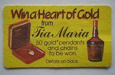 TIA MARIA WIN A HEART OF GOLD c1985 COASTER