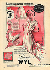 PUBLICITE ADVERTISING 014   1958   WYL    lingerie nuisette & bas