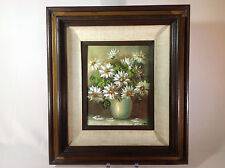 Vintage Still Life Oil Painting of White Flowers in Vase with Dark Wood Frame