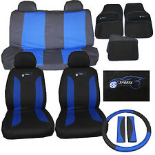 Suzuki Swift Twin Universal Car Seat Cover Set 15 Pieces Sports Logo Blue 305