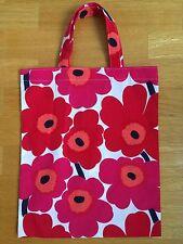 Handmade small tote bag from Marimekko Mini Unikko fabrics red Christmas