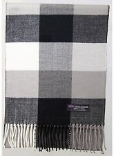 100% Cashmere Scarf Black White Check Tartan Plaid SCOTLAND Warm Wool Women R95