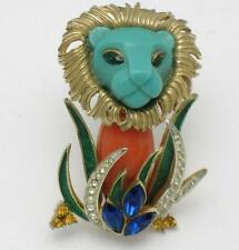HATTIE CARNEGIE Lion in the Grass Vintage Brooch Pin RARE