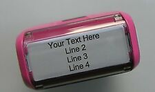Pink Return Address Self-Inking Rubber Stamper - Customize up to 4 lines of text