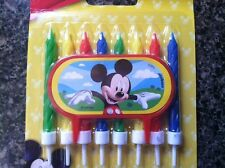 MICKEY MOUSE CLUBHOUSE CAKE DECORATION-8 BIRTHDAY CANDLES & HOLDER