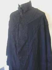 MOURNING VICTORIAN ANTIQUE CLOTHING STEAM PUNK BLACK SILK INSETS COAT LONG CAPE