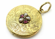 15ct yellow gold round engraved locket ruby & pearl set Early 19th century