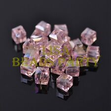 Hot 10pcs 8mm Cube Square Faceted Crystal Glass Loose Spacer Beads Aqua Red AB