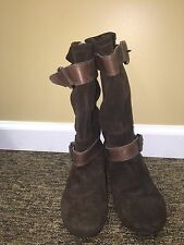Marc Fisher Women Hopkins Boots brown suede leather flats sz 7.5M pre-owned